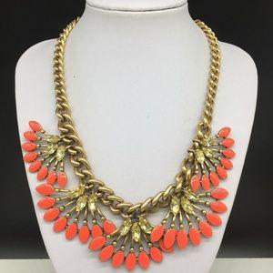 Stella & Dot Coral Cay Enamel Rhinestone Necklace